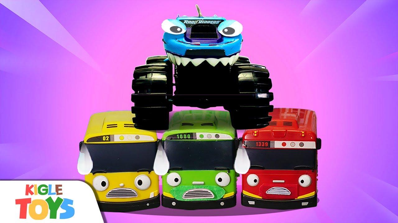 몬스터트럭 vs 경찰차 | 타요 장난감 몬스터버스 슈퍼히어로 로봇 변신 | 타요 어벤져스 | KIGLE TOYS