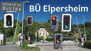 """BÜ Elpersheim [""""Ampel-Blinklichtanlage""""] mit BR 628 & Fußgänger"""