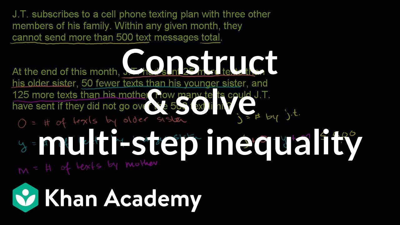 Constructing and solving a multi-step inequality example | Algebra I | Khan Academy