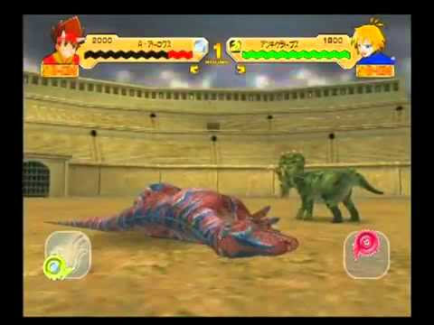 Dinosaur King Arcade Game Battle Scene Allosaurus Atroxla Batalla