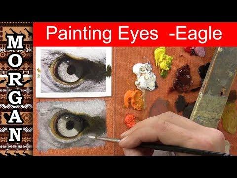 Painting eyes in oils - Eagle - wildlife art - Jason Morgan
