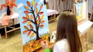 Осеннее настроение. Дерево, листья - объемная аппликация 3D из бумаги, остальное гуашь.