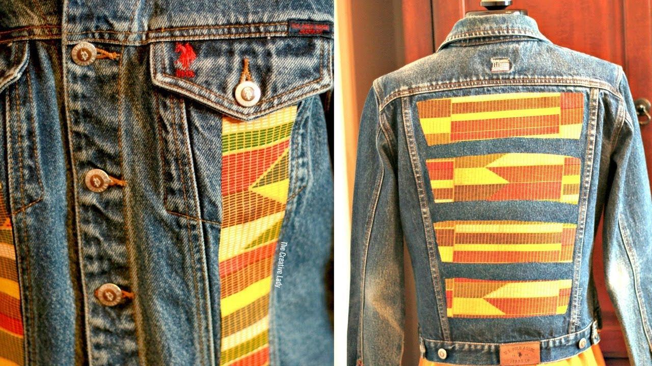 Diy Denim Jacket Upcycle With Mood Fabrics Kente Cloth