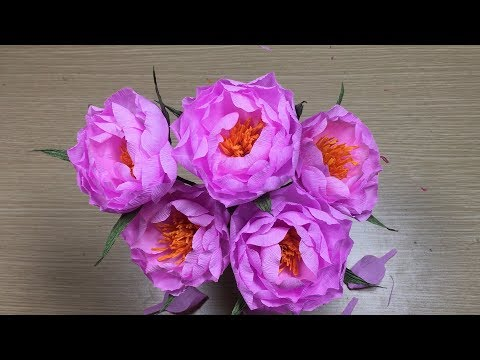 How To Make Paper Peony From Crepe Paper - Craft Ideas