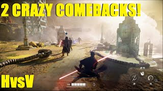 Star Wars Battlefront 2 - 2 HUGE back to back comebacks! New 50-50 HvsV! Darth Maul Kylo Ren 2 games