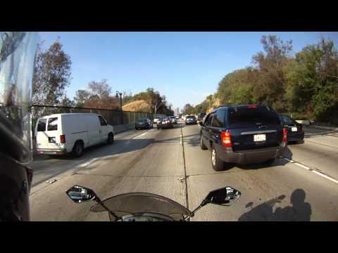 from Pasadena to LAX, 110 S to 105 W, lane splitting morning rush hour traffic