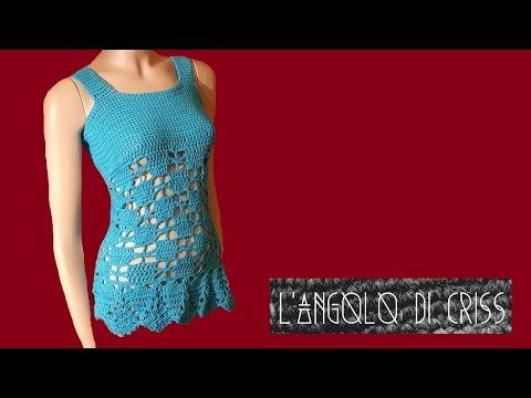 Canotta Traforata Alluncinetto Irish Crochet T Shirt Chaleco