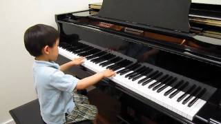 4 year old plays RCM Grade 7 piano Bach Invention No. 1 in C Major BWV 772