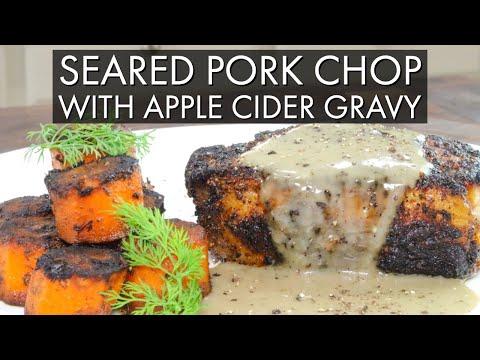 Seared Pork Chop with Apple Cider Gravy