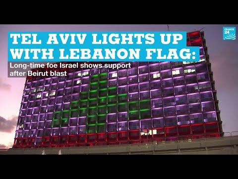 Israel's Tel Aviv Lights Up With Lebanon Flag