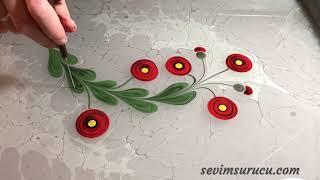 Ebru Art by Sevim Surucu - Poppy flower - Gelincik Ebrusu