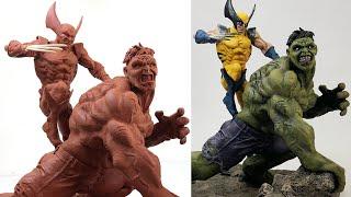 Sculpting HULK Vs WOLVERINE Timelapse | Comics Version - Dr. Garuda