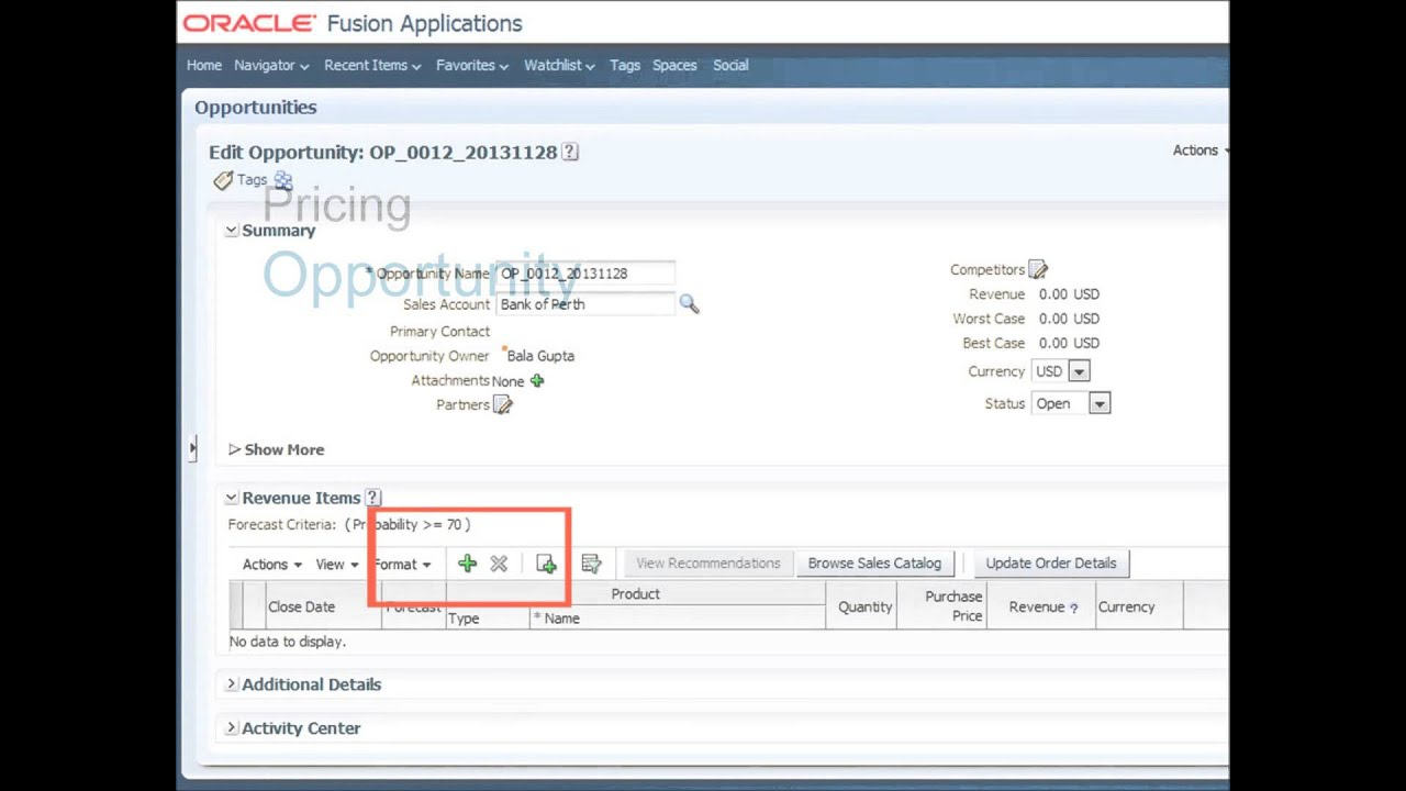 Pricing and Orders with Oracle Fusion Sales Cloud