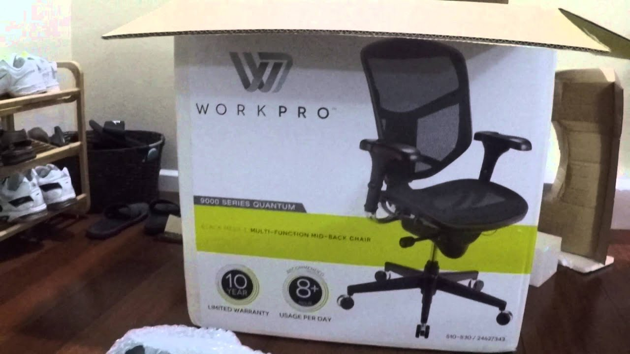 unboxing of workpro 9000 series quantum black mesh office chair