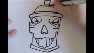 draw a simple graff skull spray can character