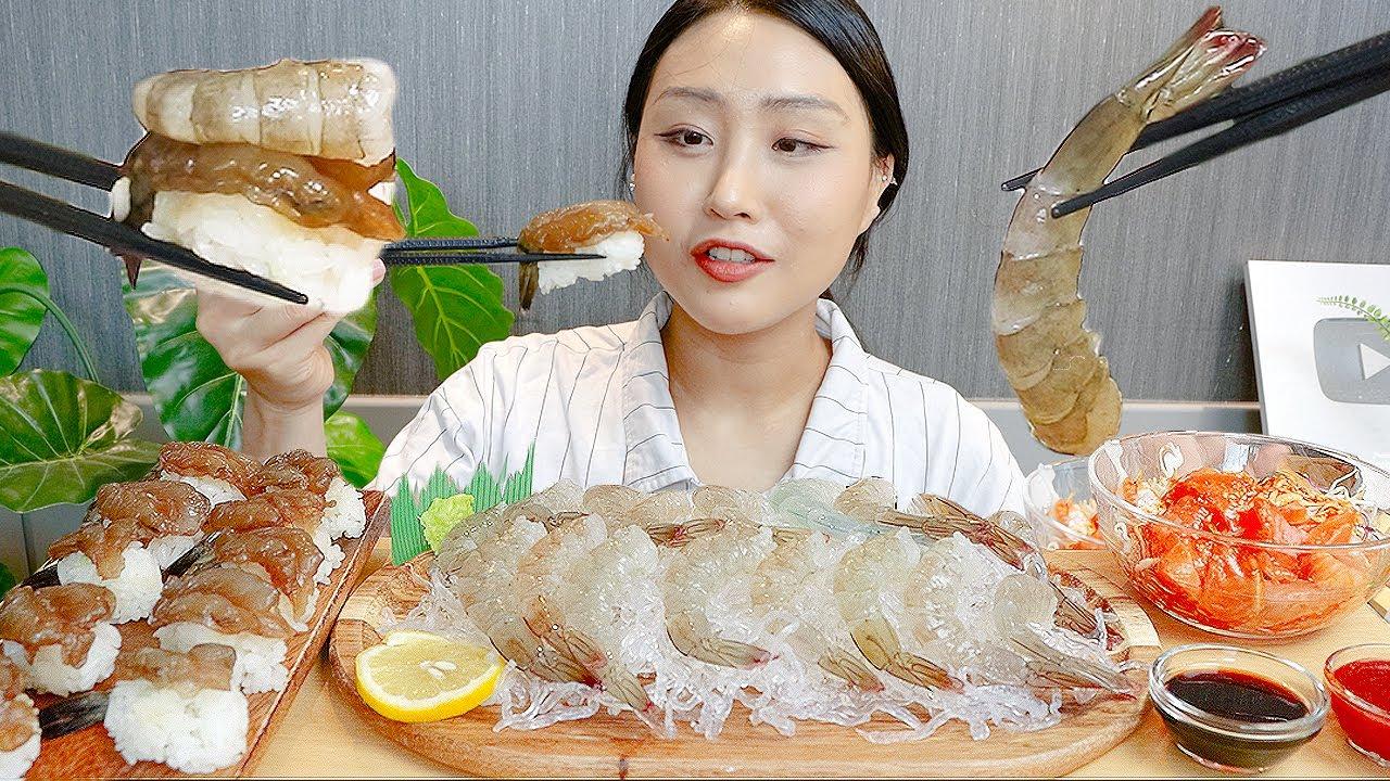 MUKBANG) 생새우 새우회 간장새우 초밥 먹방🦐 Raw shrimp & shrimp sushi ASMR eating