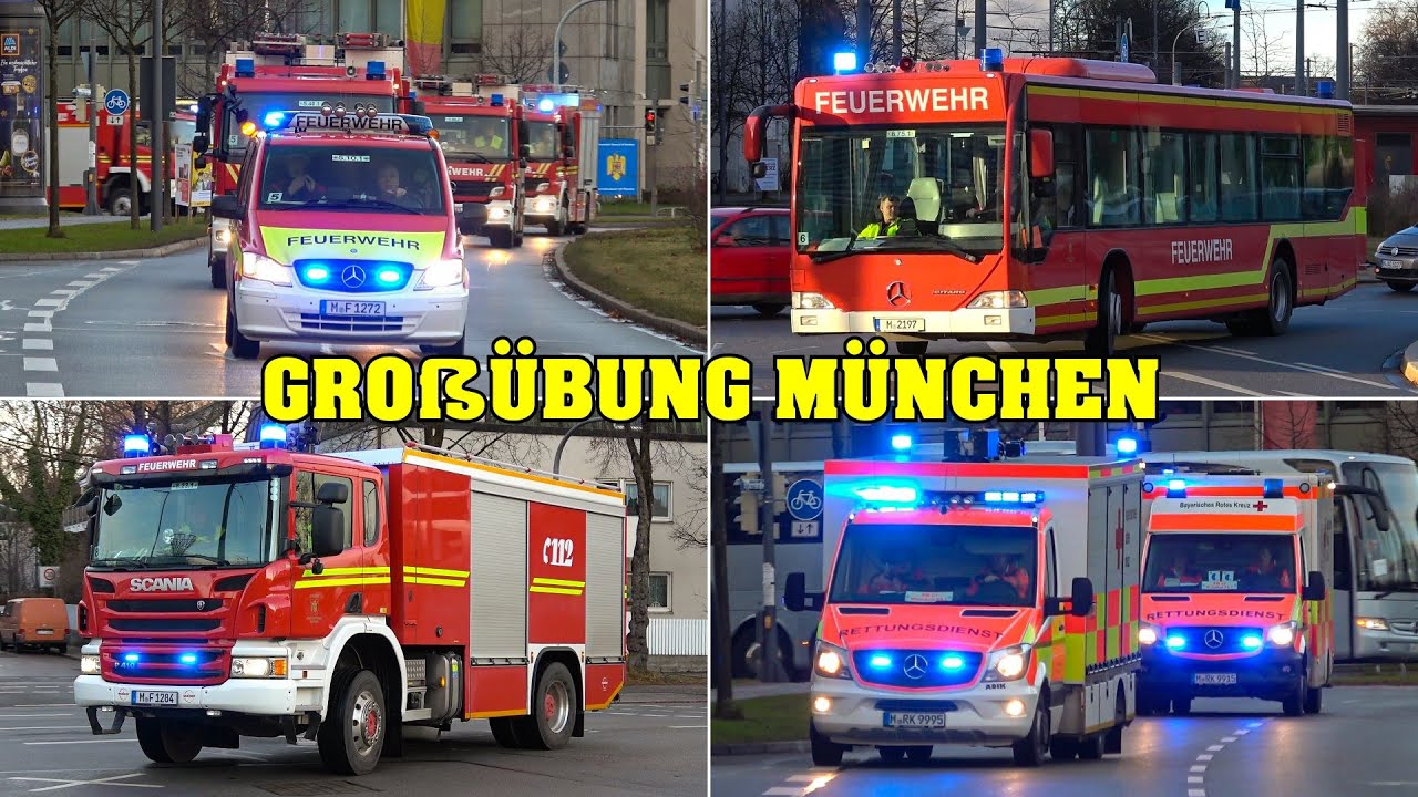 Huge Disaster Protection Drill Munich Emergency Services Responding 45 Min Fire Police Ems