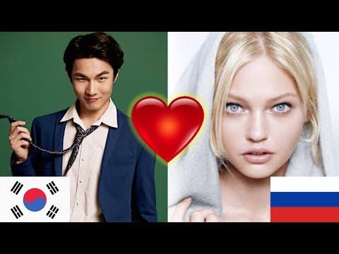 Корейская мужская модель видит русскую женскую модель. Реакция корейского парня на иностранцев.