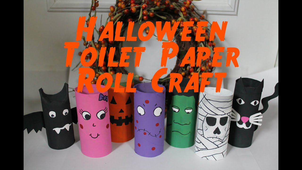 diy halloween decorations recycled toilet paper roll craft thekateemeow youtube - How To Make Paper Halloween Decorations