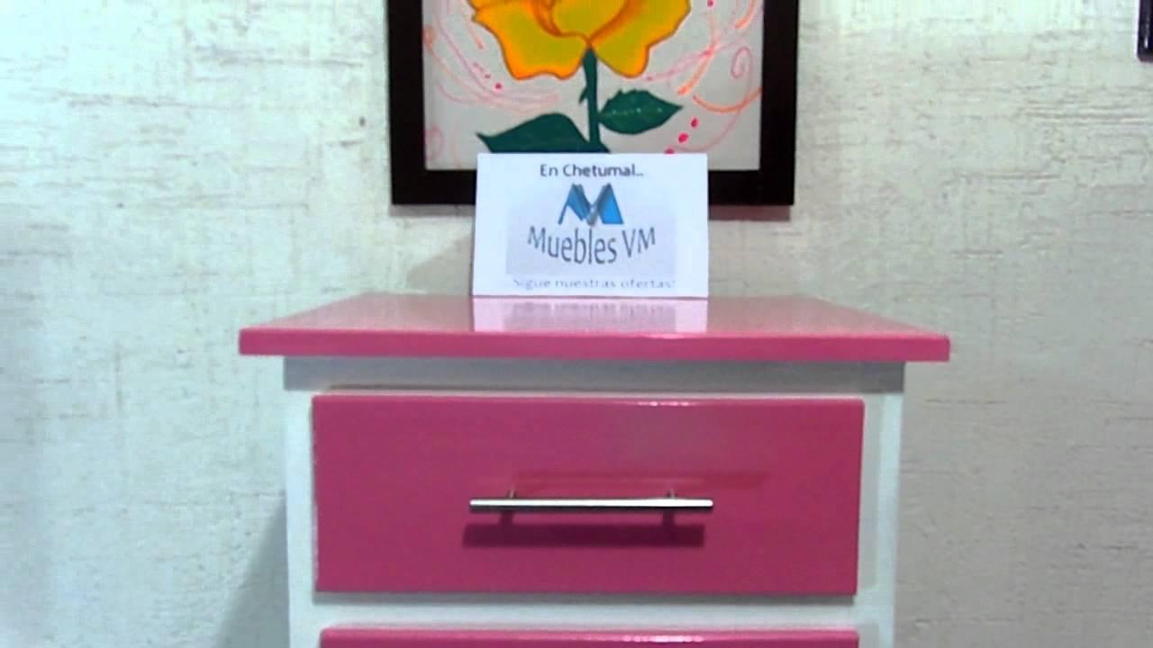Mueble cajonera de 4 gavetas para ni a color rosada youtube - Muebles de colores ...