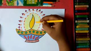 How to draw beautiful, colorful designer diya step by step very easily for kids