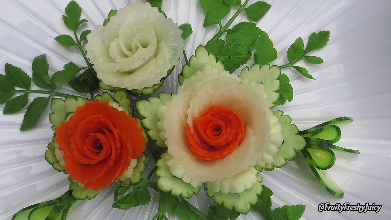 Most Satisfying Rose Vegetable Designs – How to Carve Flowers from Carrot, Radish & Zucchini