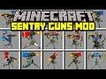 Minecraft SENTRY GUNS MOD! | BUILD SENTRY GUNS TO FIGHT ZOMBIE APOCALYPSE! | Modded Mini-Game