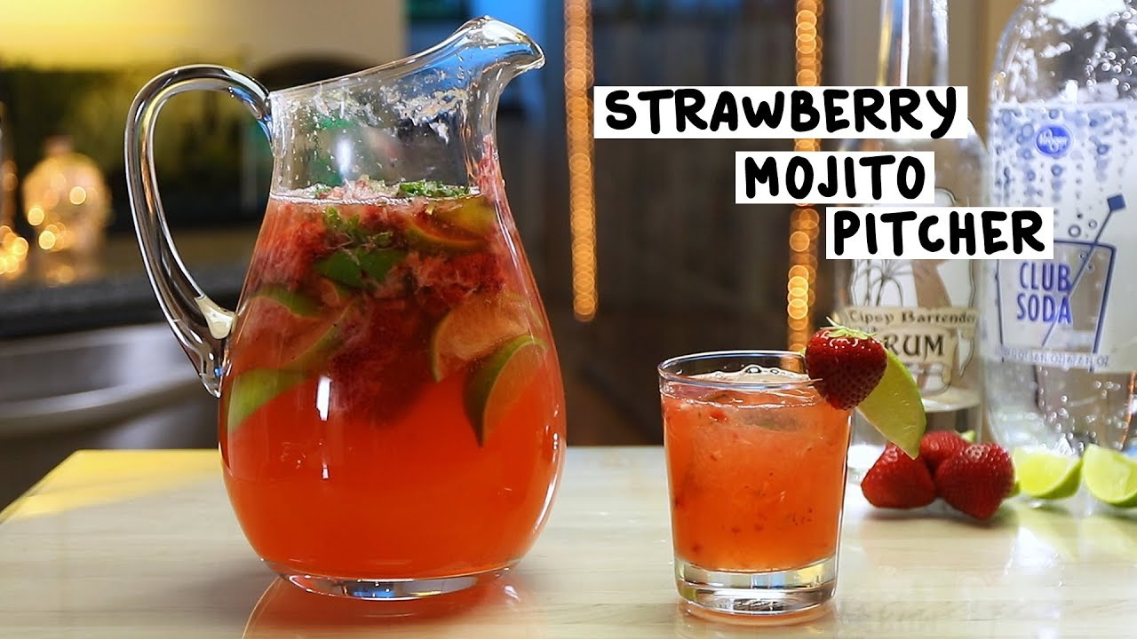 Strawberry Mojito Pitcher Tipsy Bartender