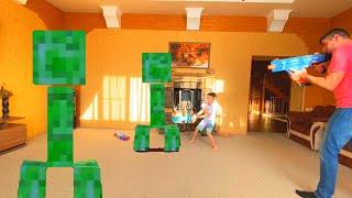 Nerf Game Папа с сыном против КРИППЕРОВ Dad and son against creepers пол лава