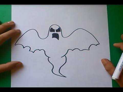 Como dibujar un fantasma paso a paso how to draw a ghost - Dibujos de halloween faciles ...
