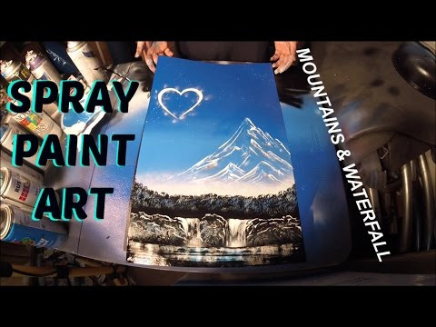 Spray Paint Art For Beginners – Valentine's day Mountains and waterfall