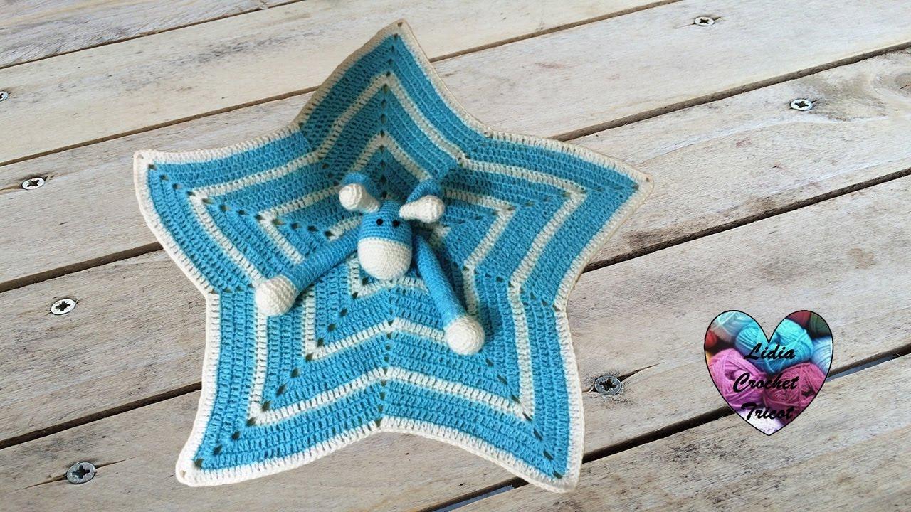 Doudou étoile Girafe Au Crochet 12 Mantita De Apego Jirafa Tejida