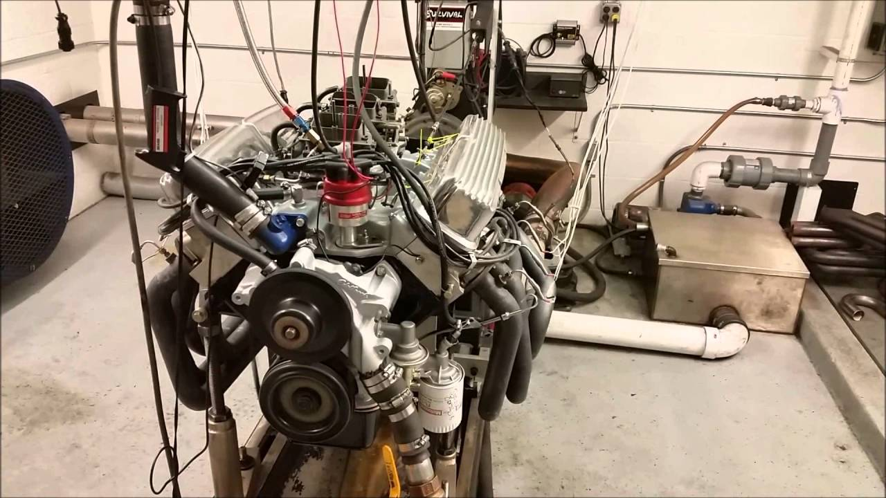 445 Stroker 390 Ford FE with 3x2 carbs on dyno