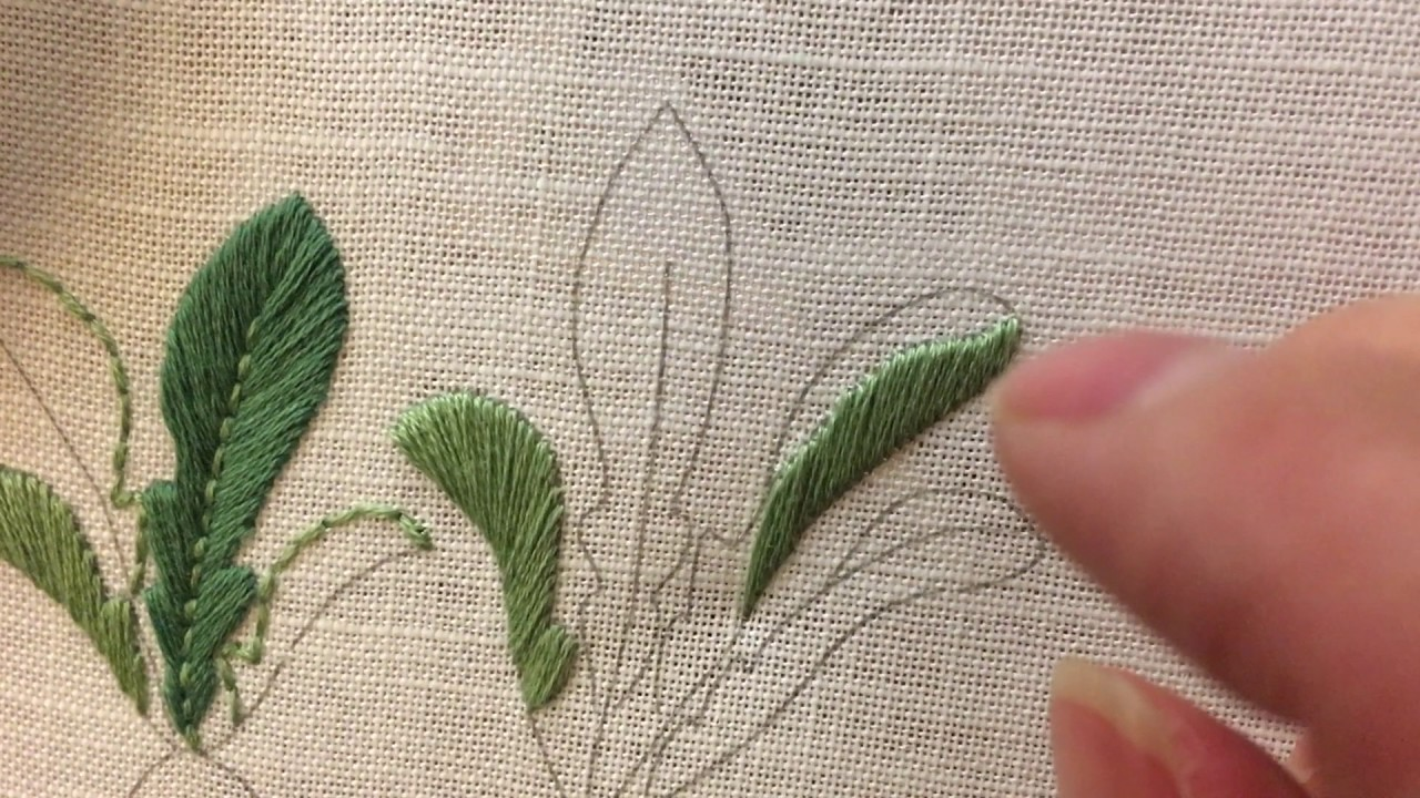 How to embroid leaves using images padded leaf