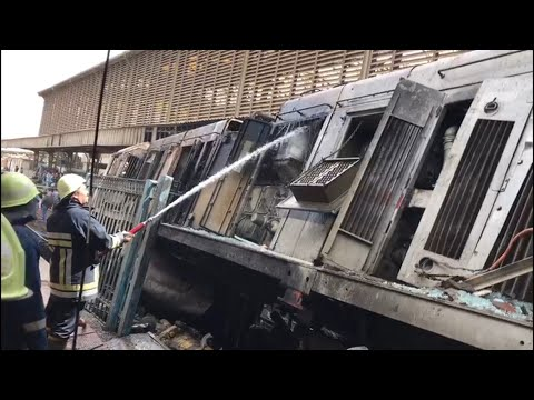 Fiery crash 'kills 20' at Cairo train station