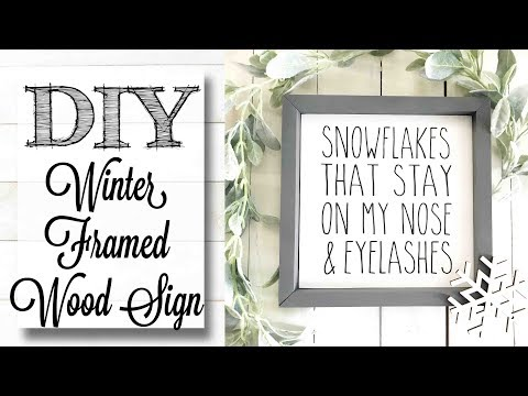 DIY Farmhouse Winter Framed Wood  Sign
