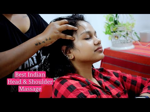 #IndianMassage ASMR - Best Head Massage | Scalp Scratching & Hair Brushing - Shoulder & Neck Massage