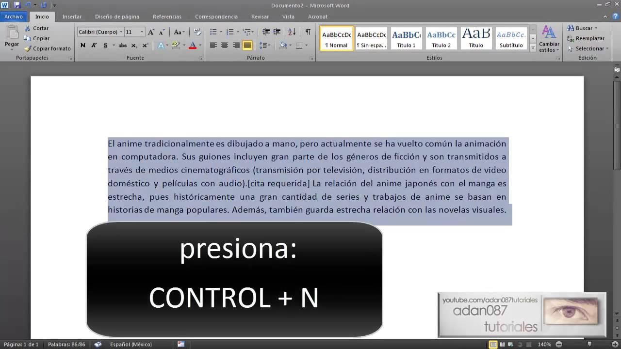 Word poner texto en negrita con el teclado youtube for En word cual es el interlineado