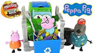 Play Doh Truck Trash Tossin Diggin Rigs Rowdy Peppa Pig Daddy Pig Playdough Toys Episode