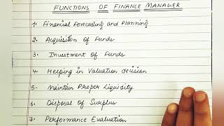 Functions Of Finance Manager