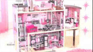 Girls Princess Sparkle Mansion Dollhouse Children Pink Dolls House Video By Kidkraft 65826
