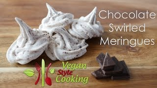 Chocolate Swirled Meringues - Chickpea Brine Pavlova (Vegan, Sweet, Oil Free)