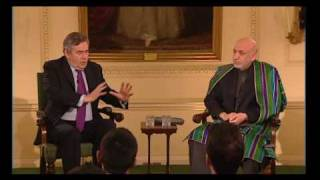 Afghanistan Discussion With U.K. Prime Minister Brown ,Afghan President Khazai and Students Pt 1