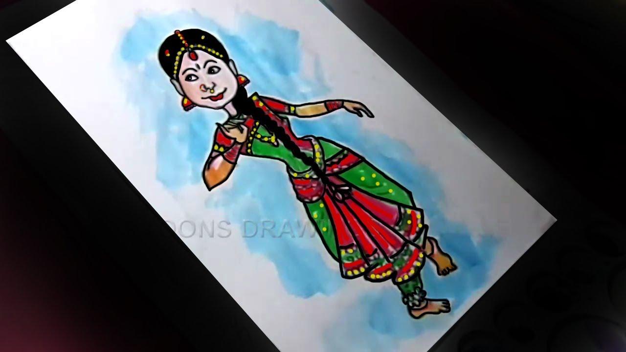 How To Draw Dancing Bharatanatyam Drawing Youtube