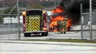 Semi tractor on fire