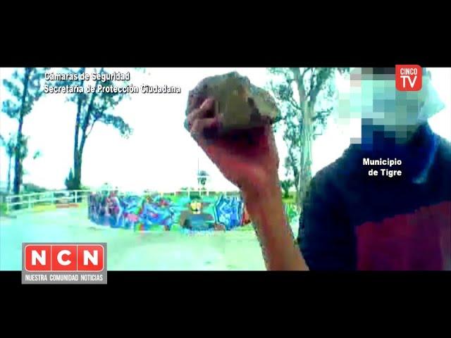 CINCO TV - Destrozó un tótem de seguridad y fue detenido gracias a las cámaras del COT