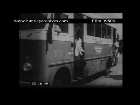 Buses in Jakarta, 1950's.  Archive film 99806