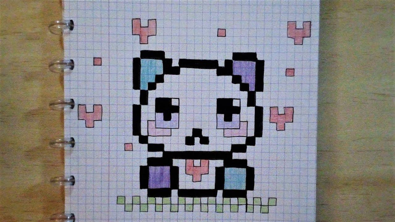 Pixel Art Moyen Panda Bleu Violet