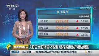 [中国财经报道]A股三大股指集体收涨 银行券商地产板块领涨| CCTV财经