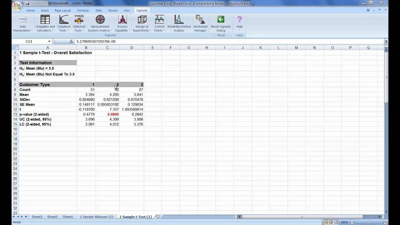 Hypothesis Testing in Excel using SigmaXL - YouTube